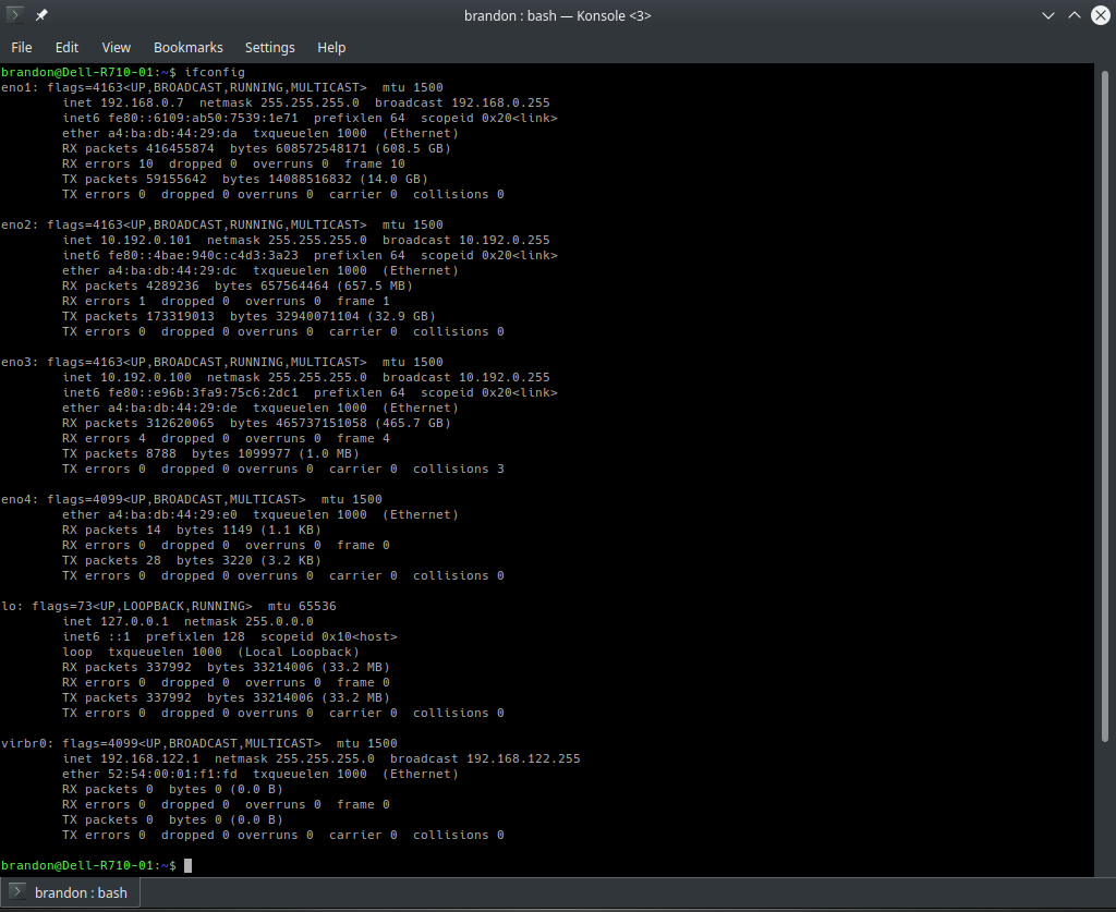 ifconfig command results